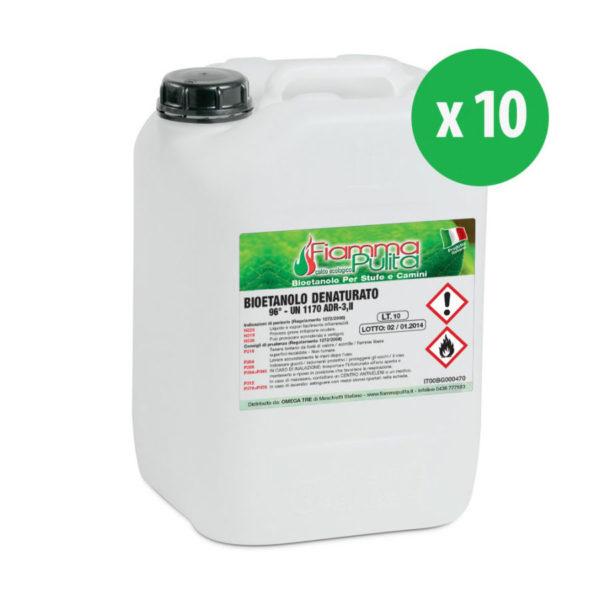 10 taniche da 10 litri di bioetanolo