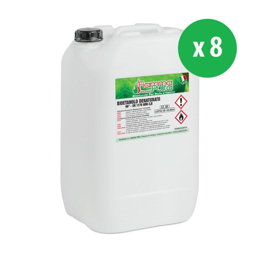 8 taniche da 25 litri di bioetanolo